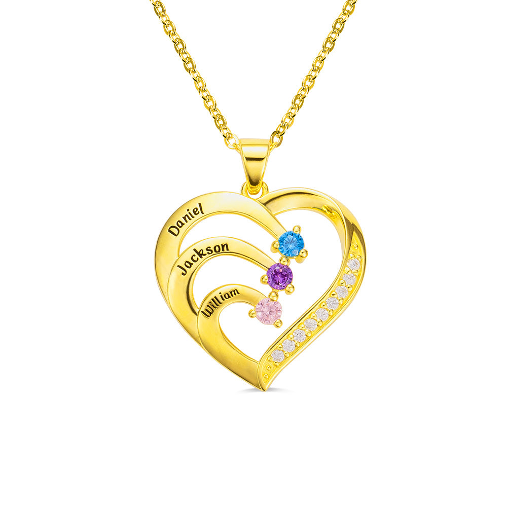 SPARKLING FAMILY HEART NECKLACE