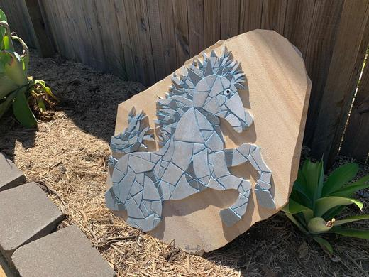 Horse Ceramic Tile Mosaic On Sandstone