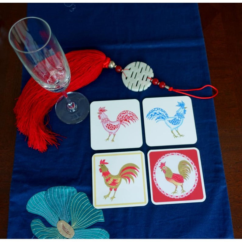 Coaster - Chinese Zodiac - Roosters - Set of Four