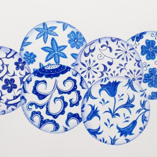 Drawing - Blue and White - Balls