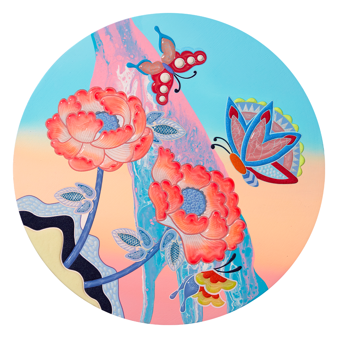 Flowing Peony with Butterfly C3 #5