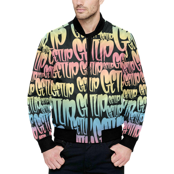 Gradient Tags Quilted Bomber