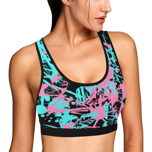 Butterfly Splatter Sports Bra