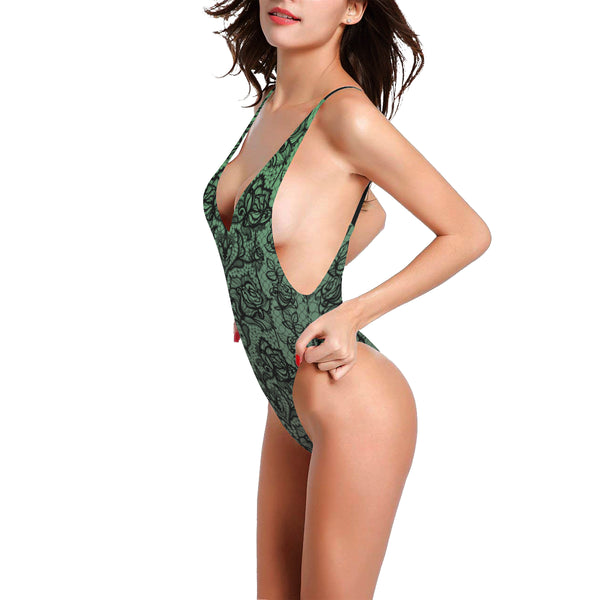 Green Lace Print Swimsuit