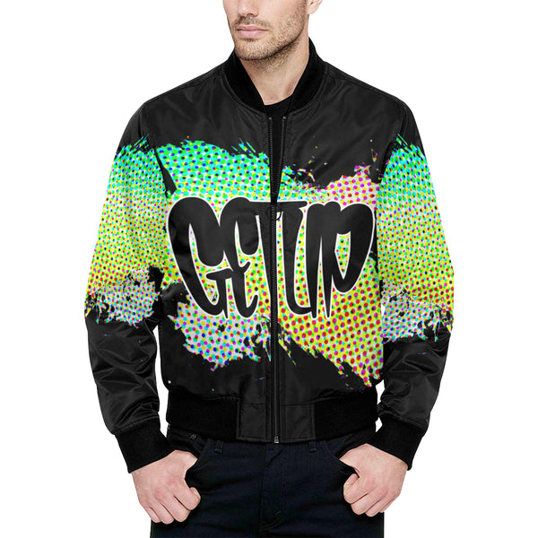 Abstract Quilted Bomber Jacket