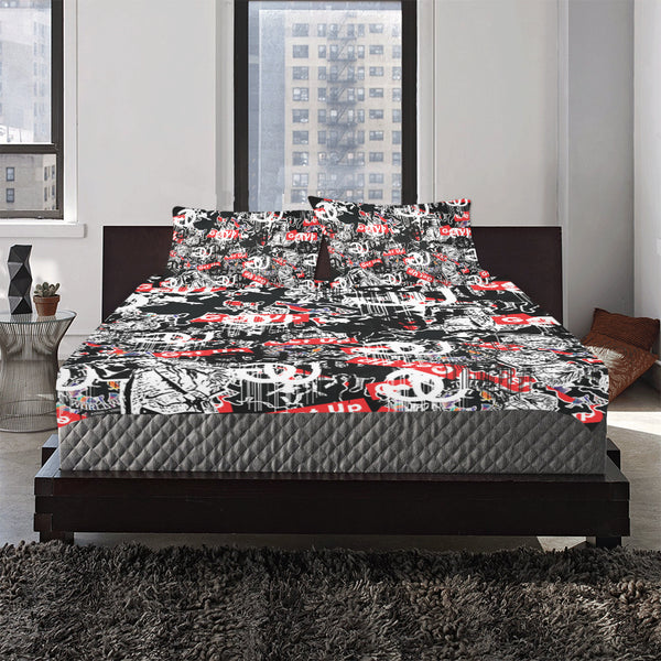 Sticker Print  3-Piece Bedding Set