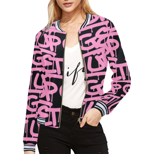 Pink Tag Womens Baseball Jacket