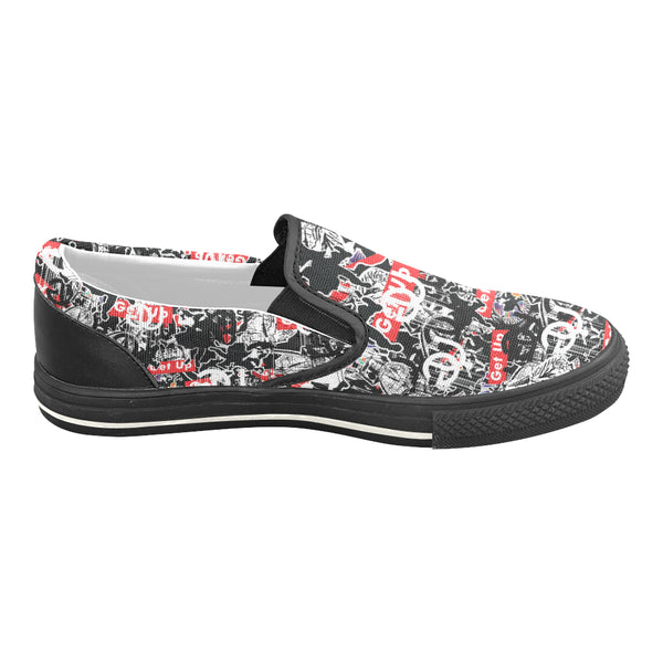 Sticker Print Mens Slip-on Shoes
