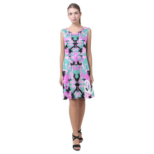 Teal/Pink Camo Drip Pleated Sleeveless Dress