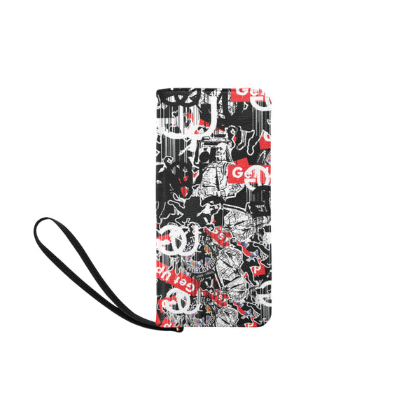 Sticker Print Clutch Purse