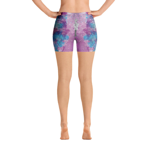 Grunge Watercolor Yoga Shorts