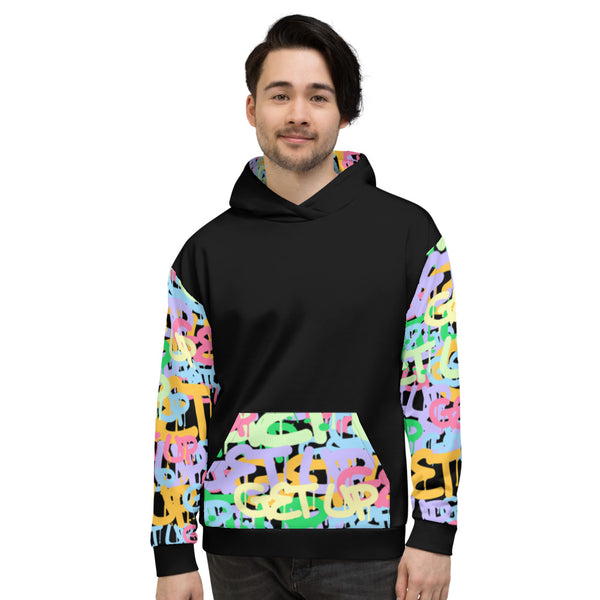 Tag Sleeve Print Unisex Hooded Sweatshirt