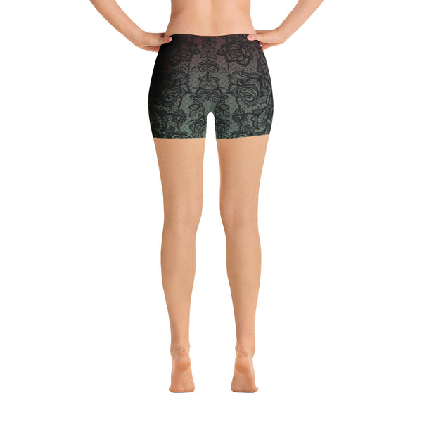 Green Lace Yoga Shorts