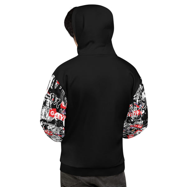 Sticker Sleeve Print Unisex Hooded Sweatshirt