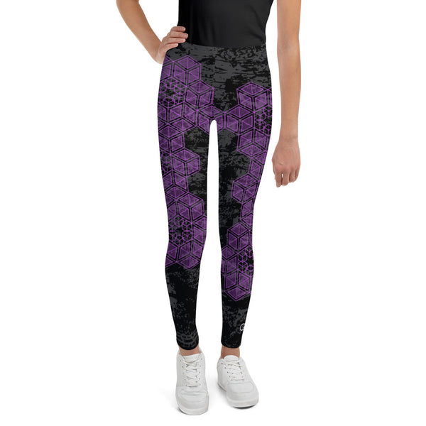 Grunge Geometric Purple Youth Legging