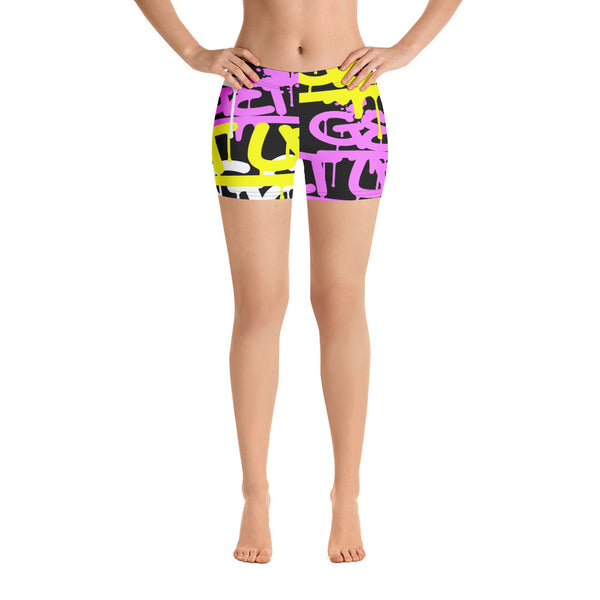 Pink and Yellow Tags Yoga Shorts