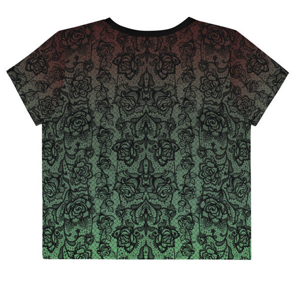 Green Lace Print Crop Tee