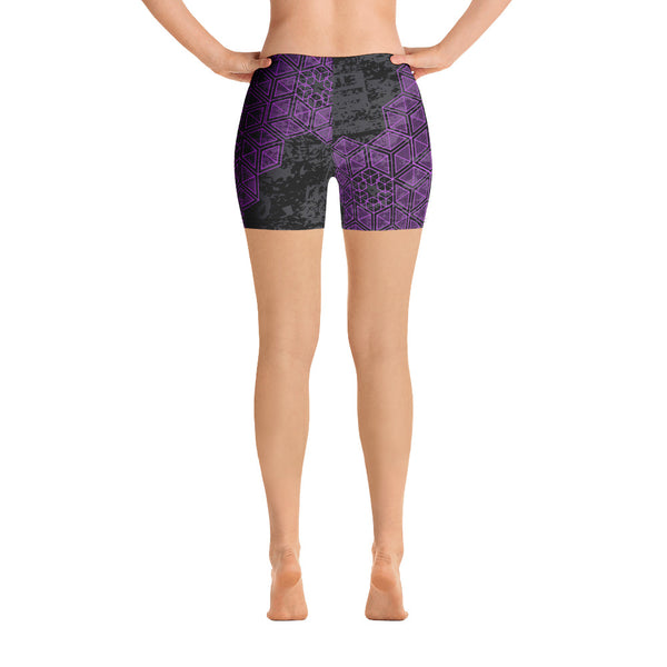 Grunge Geometric Purple Yoga Shorts