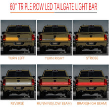 "Load image into Gallery viewer, 3 Row LED Truck Sequential Signal 60"" Tailgate Light Strip Bar"