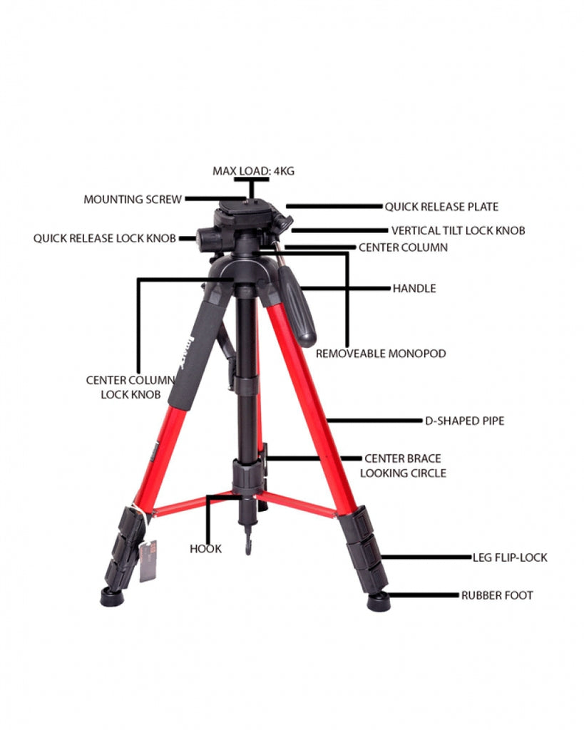 Jmary Professional Tripod and Monopod Stand KP-2264 - Black