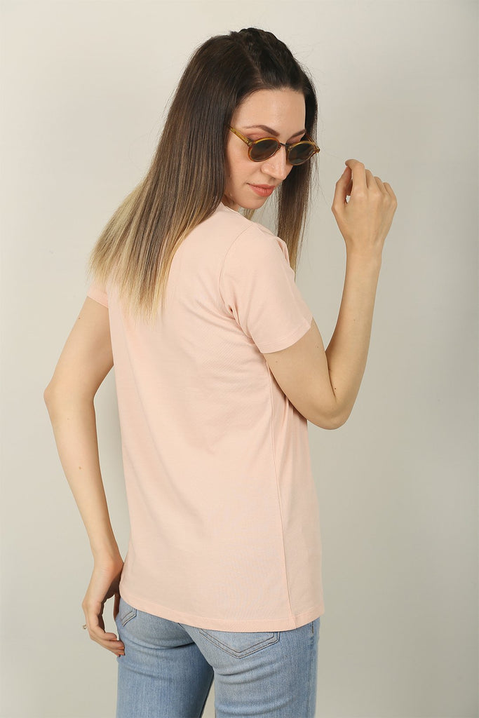 LIGHT PINK ARTSY FACE GRAPHIC TEE FOR WOMEN