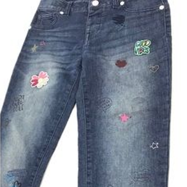 "CAT&JACK- Girls Super Stretch ""Good Vibes"" Patches jegging CJ143"