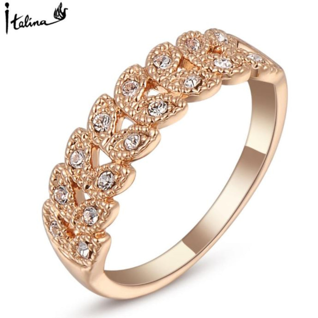 Austrian Crystal 18K Rose Gold Plated Vintage Ring