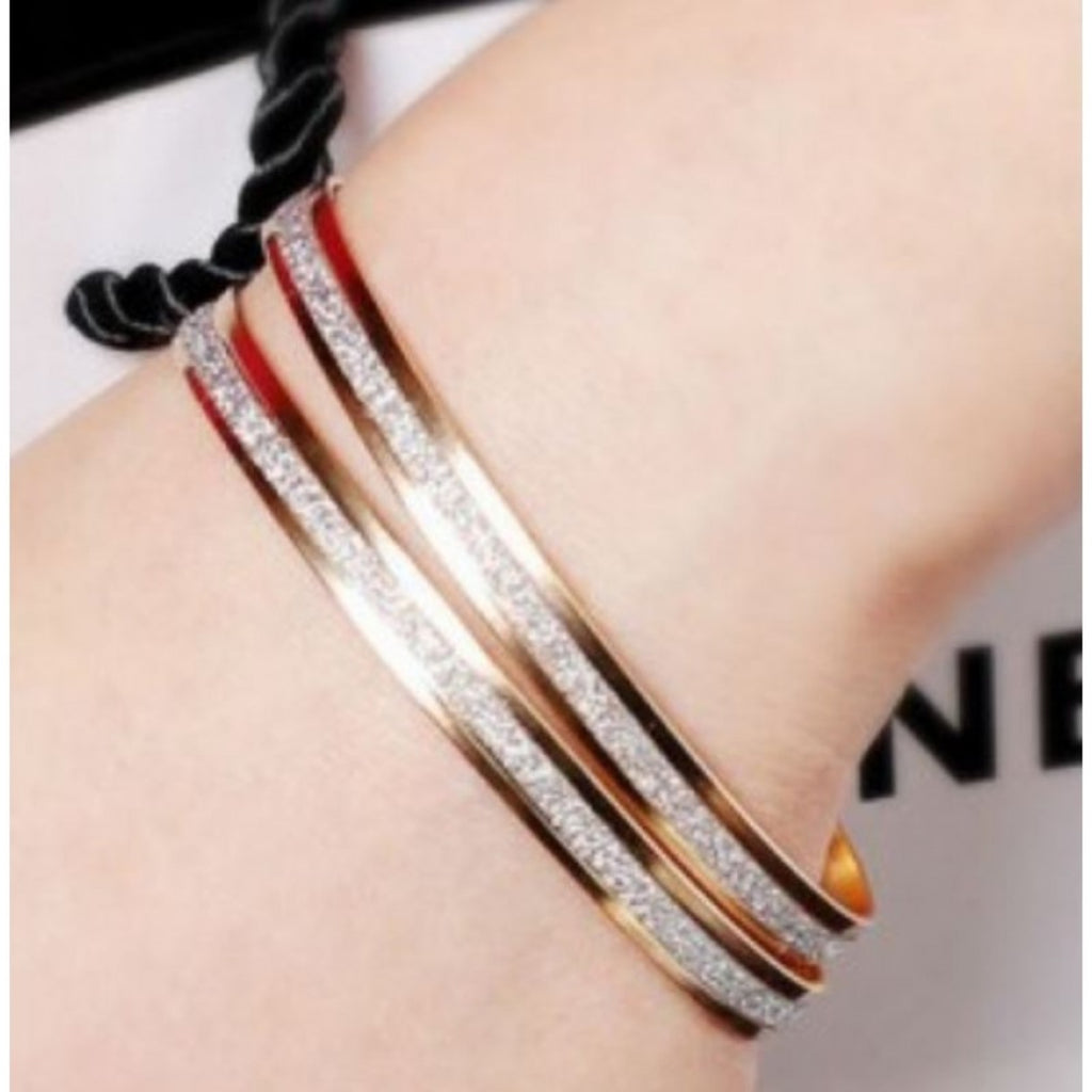 1 Pair Of Matte Rose Gold Bracelets Bangles