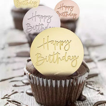 Afbeelding in Gallery-weergave laden, Happy Birthday cupcake topper acryl goud