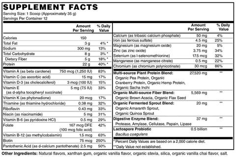 Supplement Facts Balanced Meal