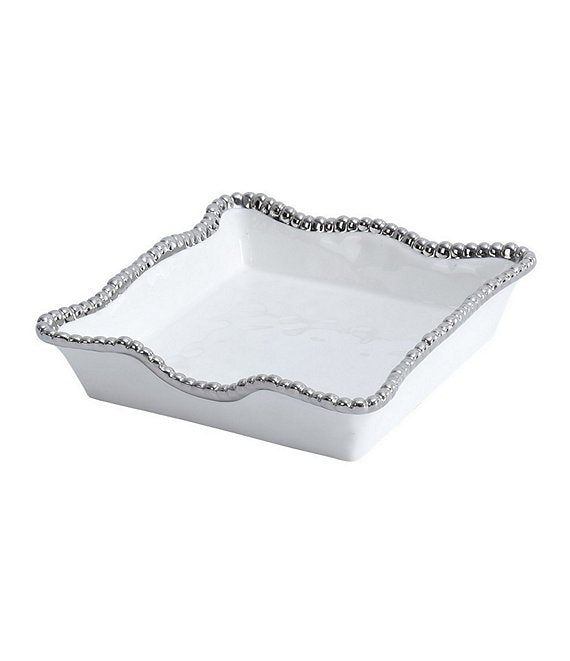 Luncheon Napkin Holder - White with silver Finish