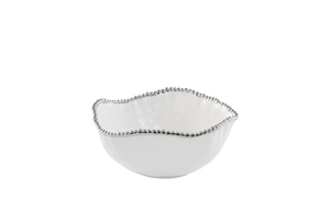 Large Salad Bowl - White with silver Finish