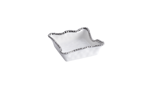 Cocktail Napkin Holder - White with silver Finish