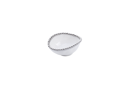 Round Condiment Bowl - White with silver Finish