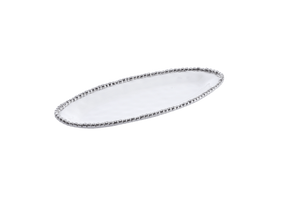 Small Oval Serving Piece - White with silver Finish