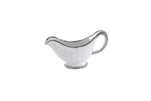 Gravy Boat - White with silver Finish