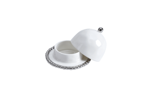 Round Covered Butter Dish - White with silver Finish