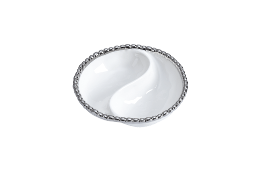MIni two-section platter - White with silver Finish