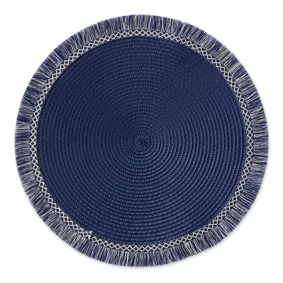 Blue Fringe Round Woven Placemats - Set of 4
