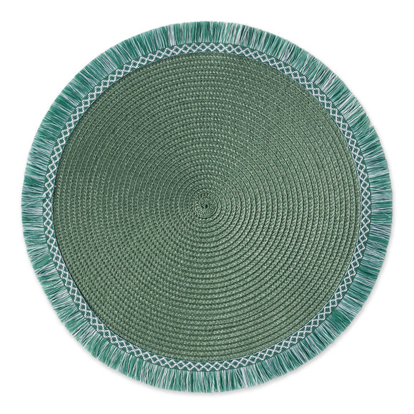 Green Fringe Round Woven Placemats - Set of 4