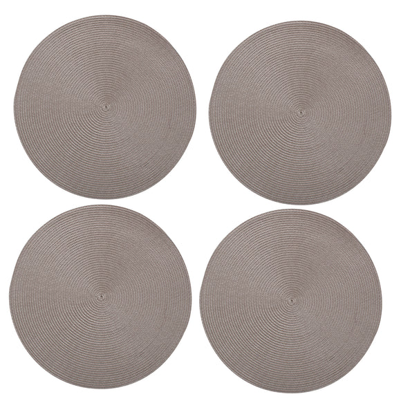 Grey Round Woven Placemats - Set of 4