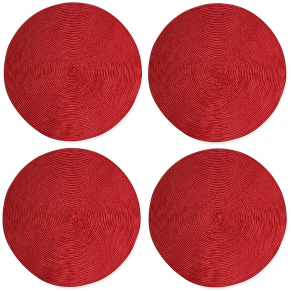 Red Round Woven Placemats - Set of 4