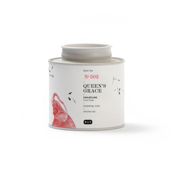 Queen's Grace N°502 floral, almond, camphor A first flush Darjeeling with notes of a floral bouquet. Black Tea, Darjeeling, India Paper & Tea