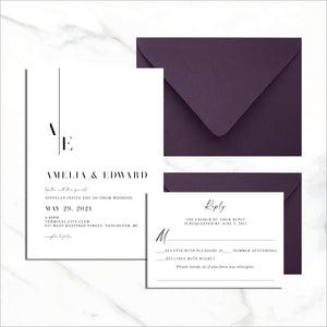 Postcard Invite & RSVP Card - Modern Monogram