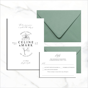 Postcard Invite & RSVP Card - Flower Accent
