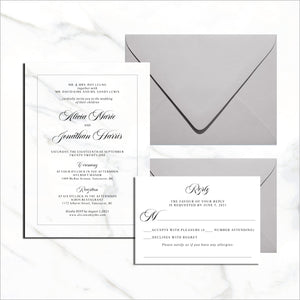 Postcard Invite & RSVP Card - Marble Background