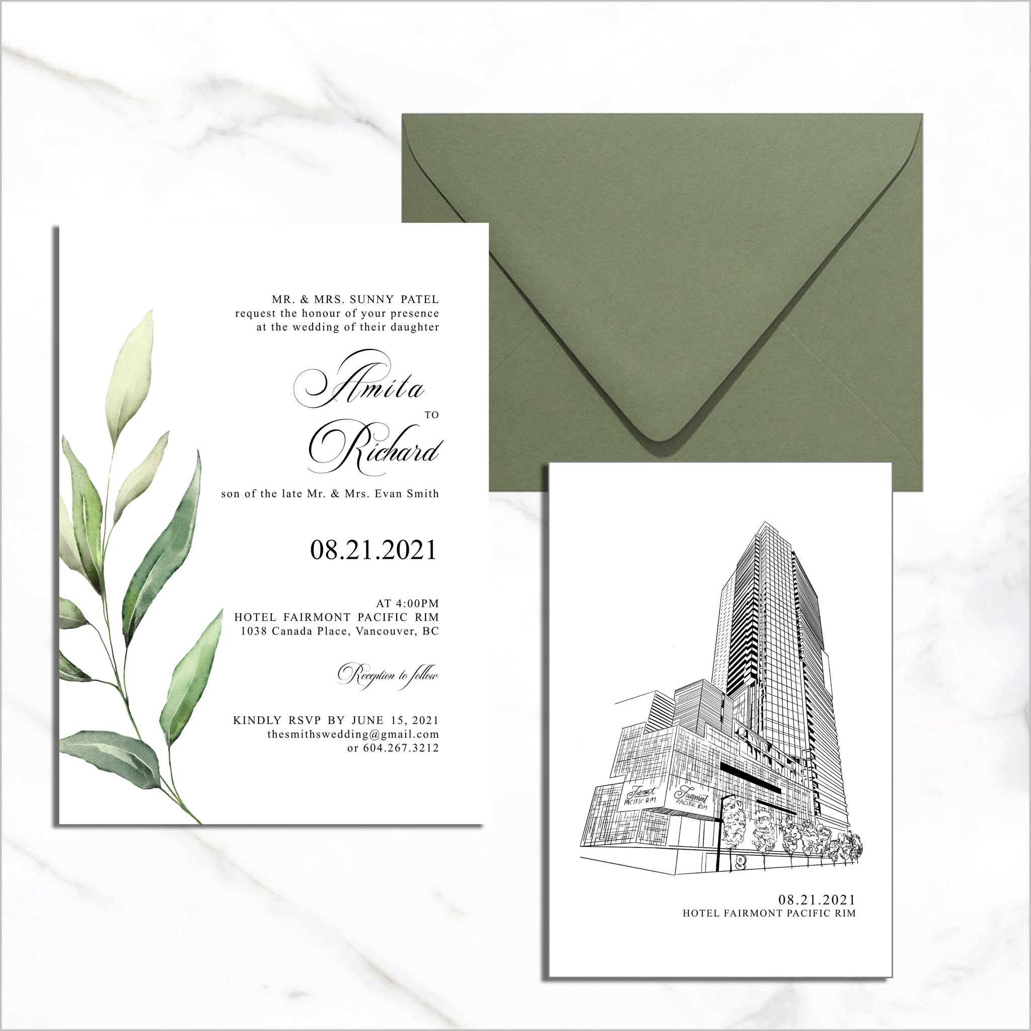 Postcard Invite & Venue Insert - Single Green Leaf