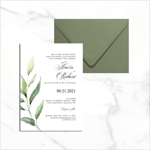 Postcard Invite - Single Green Leaf