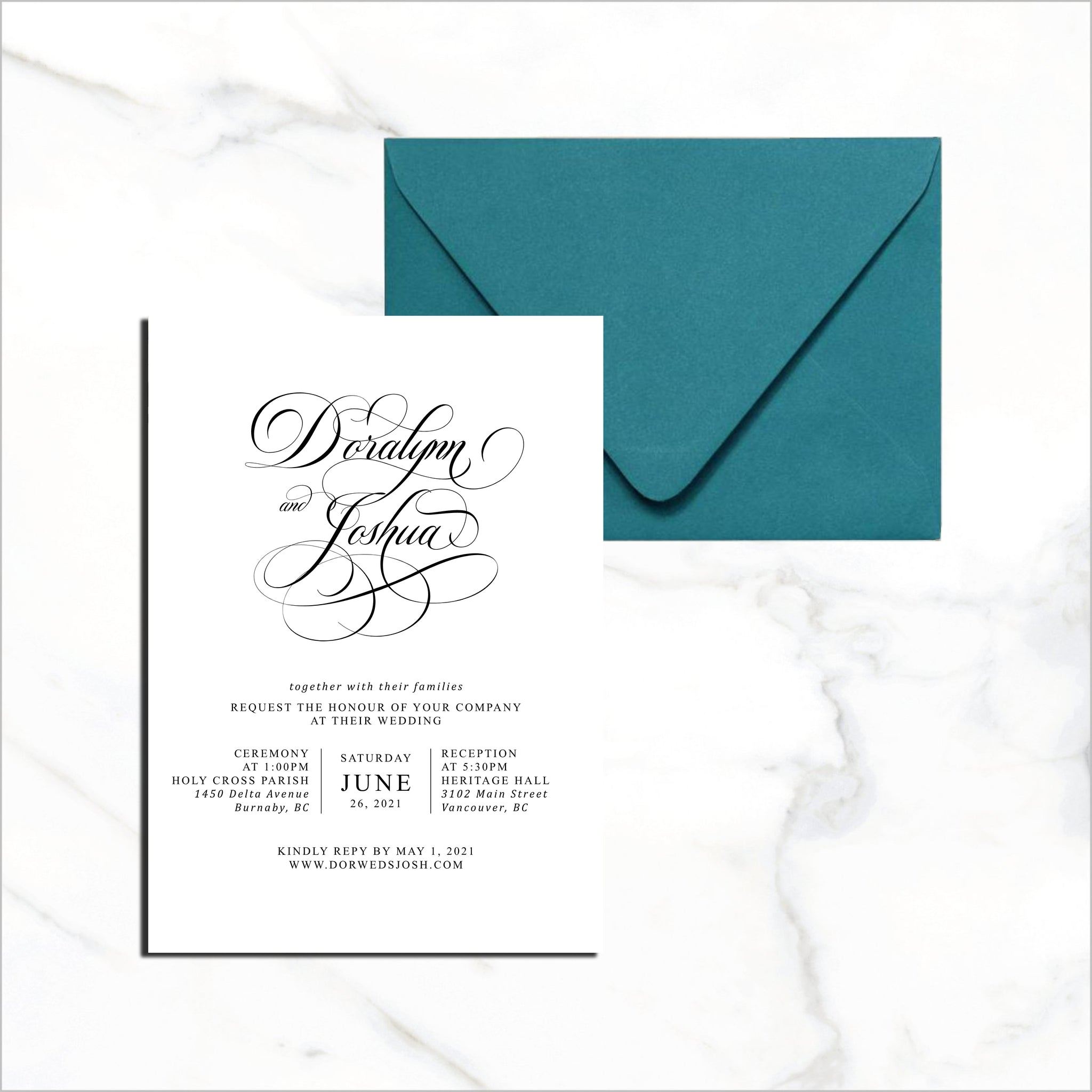 Postcard Invite - Flowy Flourish Script Names