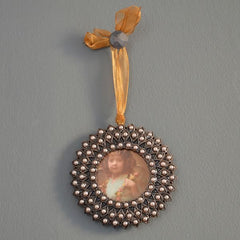 Hanging Pewter Frame with beads
